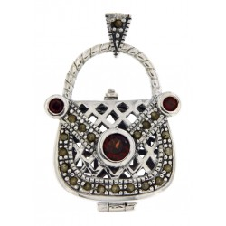 Sterling Silver Garnet Purse Pendant / Pillbox