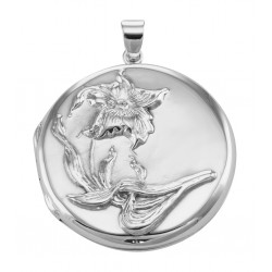 Sterling Silver Round Art Nouveau Style Locket - Large