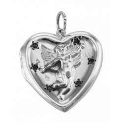 Cherub Heart Sterling Silver Locket Pendant with Blue CZ's