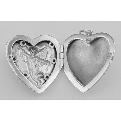 Cherub Heart Sterling Silver Locket Pendant with Blue CZs