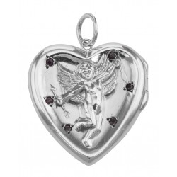 Sterling Silver Cherub Heart Locket Pendant Red CZ's