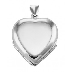 Sterling Silver Heart Locket Engravable - 4 Photo Large Clover