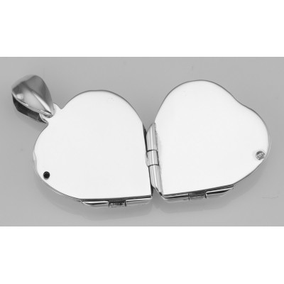 Sterling Silver Heart Locket Engravable - 4 Photo Small Clover