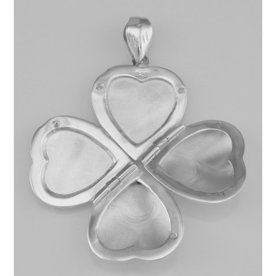Engraved Sterling Silver Heart Locket Pendant - 4 Photo Small Clover