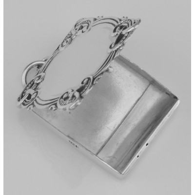 Beautiful Victorian Style Stamp Box Pendant - Sterling Silver - Engravable