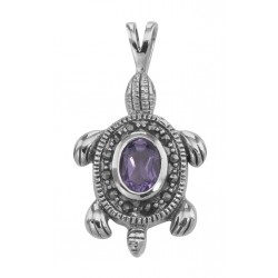 Amethyst and Marcasite Turtle Pendant - Sterling Silver