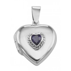 Antique Style Amethyst Heart Sterling Silver Locket Pendant