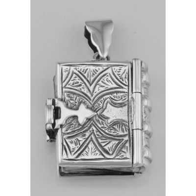 Beautiful Sterling Silver Antique Style Book Locket Pendant