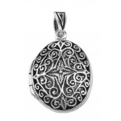 Oval Filigree Vinaigrette Aromatherapy Locket Pendant - Sterling Silver