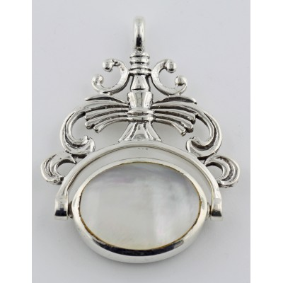 2 Stone Spinning Fob Pendant - Antique Style - Sterling Silver
