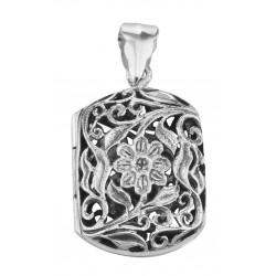Antique Style Floral Vinaigrette Sterling Silver Locket