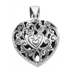 Filigree Heart Locket Pendant Vinaigrette Aromatherapy Sterling Silver