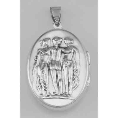 Repousse Victorian Style Sterling Silver Three Graces Locket Pendant