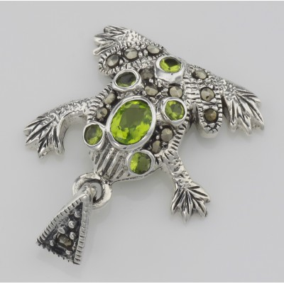 Cute Green CZ and Marcasite Frog Pendant - Sterling Silver