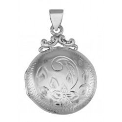 Victorian Style Sterling Silver Etched Round Fob Locket