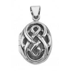 Classic Celtic Knot Design Sterling Silver Oval Filigree Locket