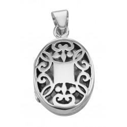 Sterling Silver Oval Filigree Locket - Aromatherapy Locket