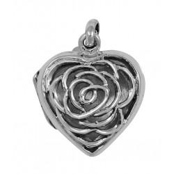 Sterling Silver Rose Heart Filigree Locket
