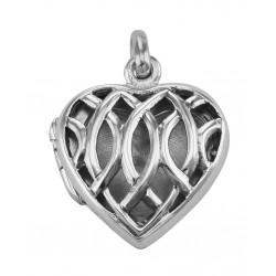 Sterling Silver Filigree Heart Locket - Aromatherapy Locket