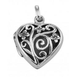 Sterling Silver Floral Filigree Heart Locket - Aromatherapy Locket