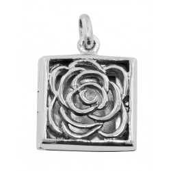 Sterling Silver Filigree Square Rose Locket