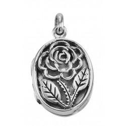 Sterling Silver Filigree Rose Oval Locket - Aromatherapy Locket