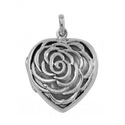 Sterling Silver Large Filigree Rose Heart Locket