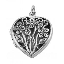 Sterling Silver Large Filigree Floral Heart Locket - Aromatherapy Locket
