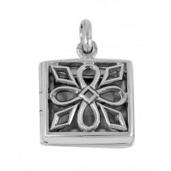 Sterling Silver Square Filigree Locket - Flower and Diamond Design