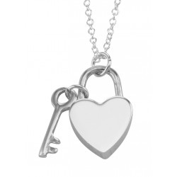 Sterling Silver Heart Lock and Key Pendant with 16 inch chain