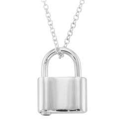 Sterling Silver Padlock / Lock Pendant Spring loaded Opening with 16 inch chain