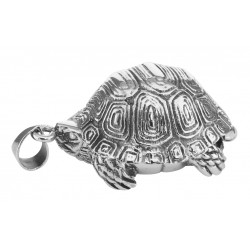 Large Turtle Locket Box Pendant - Tortoise - Sterling Silver