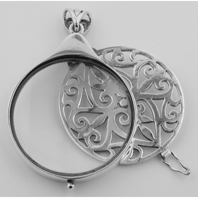 Sterling Silver Magnifying Pendant w/ Filigree Cover - (3X) Magnification