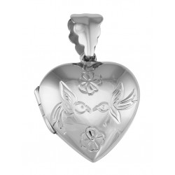 Vintage Style Heart Locket Birds and Flowers Antique Design - Sterling Silver