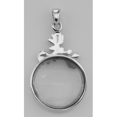Antique Style Rose Magnifying Glass Pendant (5X) - Sterling Silver
