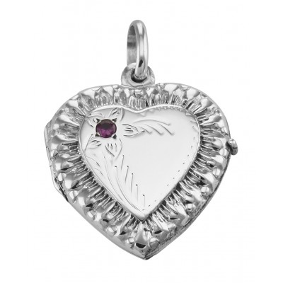 Sterling Silver Heart Locket Pendant with Red CZ - Victorian Style