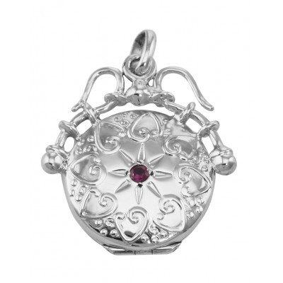 Unique Victorian Style Round Sterling Silver Fob Locket Pendant