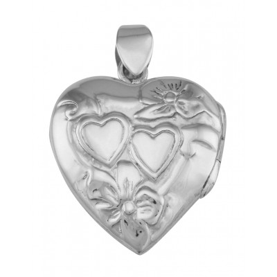 Vintage Style Interlocking Heart Locket Pendant In Fine Sterling Silver