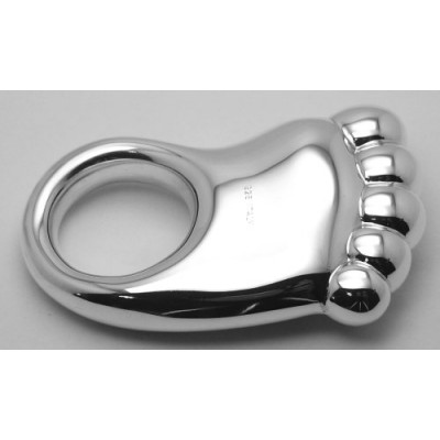 Very Cute Baby Foot Rattle - Sterling Silver Baby Rattle Made in Italy