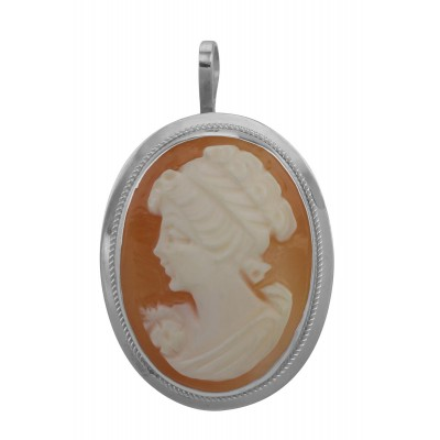 Hand Carved Italian Cameo Pin / Pendant - Roman Style - Sterling Silver