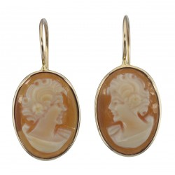Classic Hand Carved Italian Oval Dangle Cameo Earrings - 14kt Gold