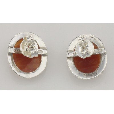 Hand Carved Italian Oval Cameo Post Earrings - Sterling Silver