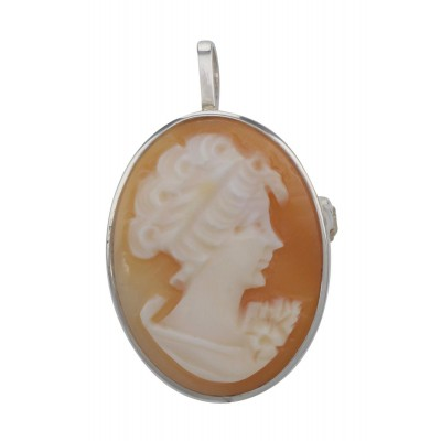 Italian Hand Carved Cameo Pin / Pendant in Fine Sterling Silver