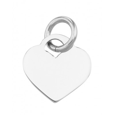 Small Heart Tag Charm Pendant - Sterling Silver