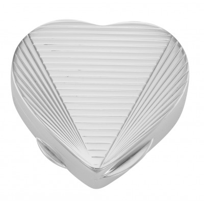 Handcrafted Italian Heart Shaped Sterling Silver Pillbox - Engine Turn Design