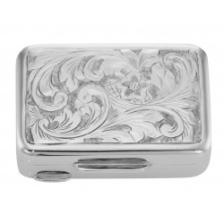 Handmade Engraved Italian Rectangular Shape Sterling Silver Pillbox - Heavy