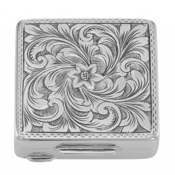 Premium Hand Engraved Italian Square Sterling Silver Engravable Pillbox