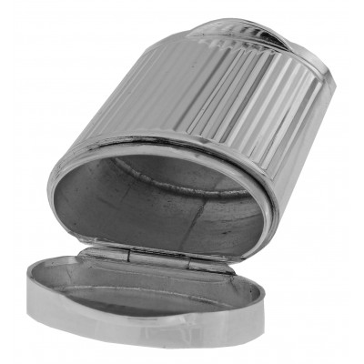 Two Compartment Handmade Italian Oval Tubular Shapes Sterling Silver Pillbox