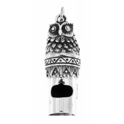 Antique Style Highly Detailed Owl Whistle Pendant - Sterling Silver