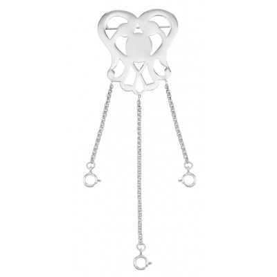 Heart Openwork Chatelaine Pin with 3 chains - Sterling Silver